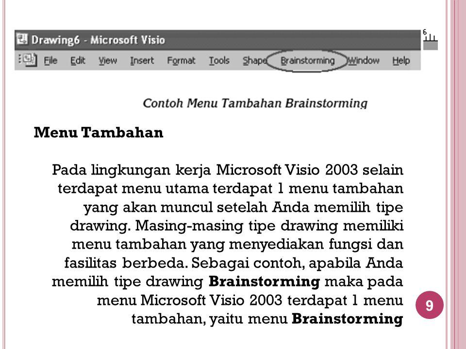 10 Toolbar Microsoft Visio Selain menu, pada Microsoft Visio 2003 juga terdapat toolbar dalam bentuk ikon- ikon.