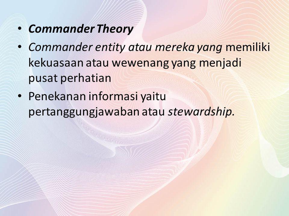 Commander Theory Commander entity atau mereka yang memiliki kekuasaan atau wewenang yang menjadi pusat perhatian Penekanan informasi yaitu pertanggung
