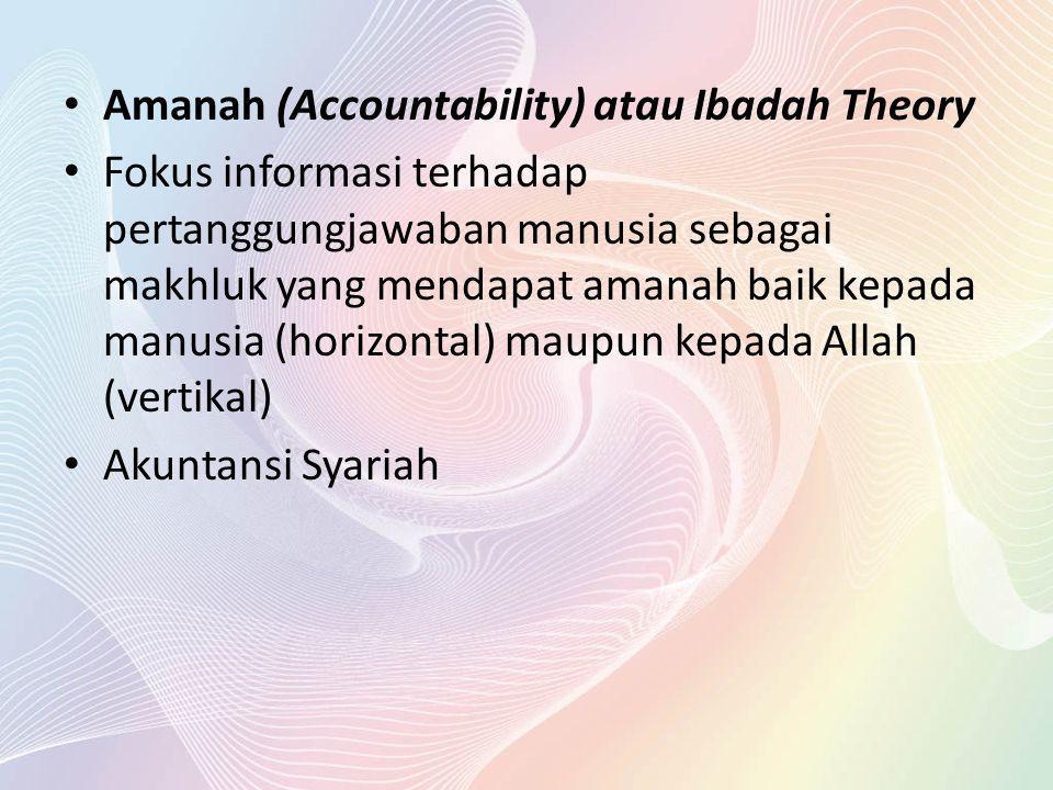 Amanah (Accountability) atau Ibadah Theory Fokus informasi terhadap pertanggungjawaban manusia sebagai makhluk yang mendapat amanah baik kepada manusi