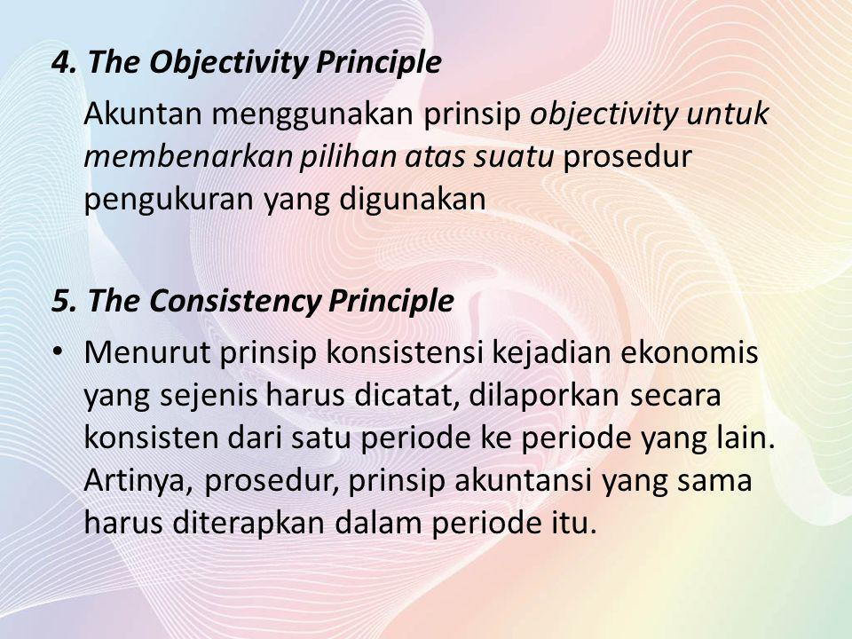 4. The Objectivity Principle Akuntan menggunakan prinsip objectivity untuk membenarkan pilihan atas suatu prosedur pengukuran yang digunakan 5. The Co