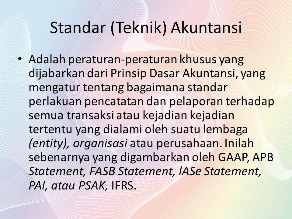 Standar (Teknik) Akuntansi Adalah peraturan-peraturan khusus yang dijabarkan dari Prinsip Dasar Akuntansi, yang mengatur tentang bagaimana standar per