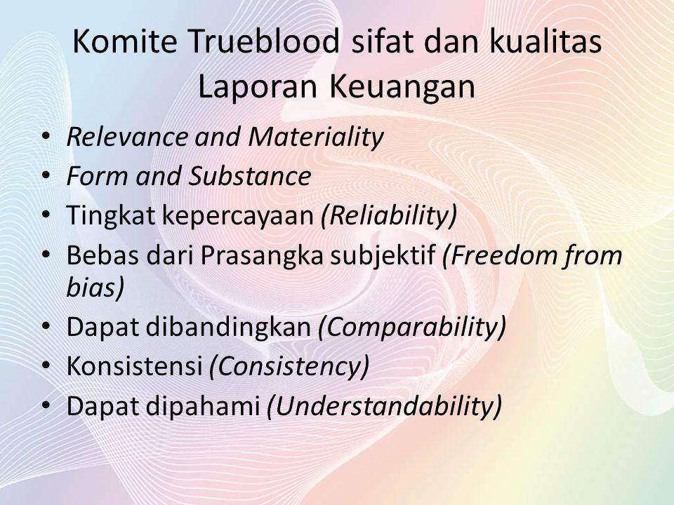 Komite Trueblood sifat dan kualitas Laporan Keuangan Relevance and Materiality Form and Substance Tingkat kepercayaan (Reliability) Bebas dari Prasang