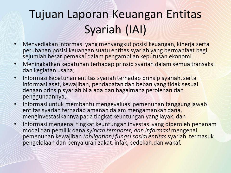 Tujuan Laporan Keuangan Entitas Syariah (IAI) Menyediakan informasi yang menyangkut posisi keuangan, kinerja serta perubahan posisi keuangan suatu ent