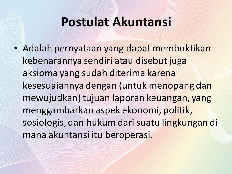 Postulat Akuntansi terdiri dari: Postulat Entity Firm Oriented.