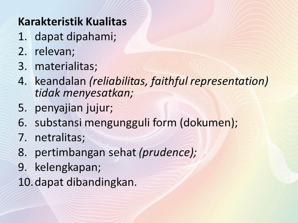 Karakteristik Kualitas 1.dapat dipahami; 2.relevan; 3.materialitas; 4.keandalan (reliabilitas, faithful representation) tidak menyesatkan; 5.penyajian