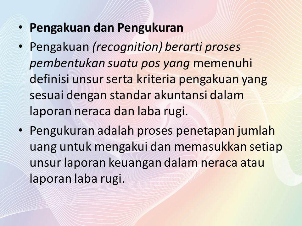 Pengakuan dan Pengukuran Pengakuan (recognition) berarti proses pembentukan suatu pos yang memenuhi definisi unsur serta kriteria pengakuan yang sesua
