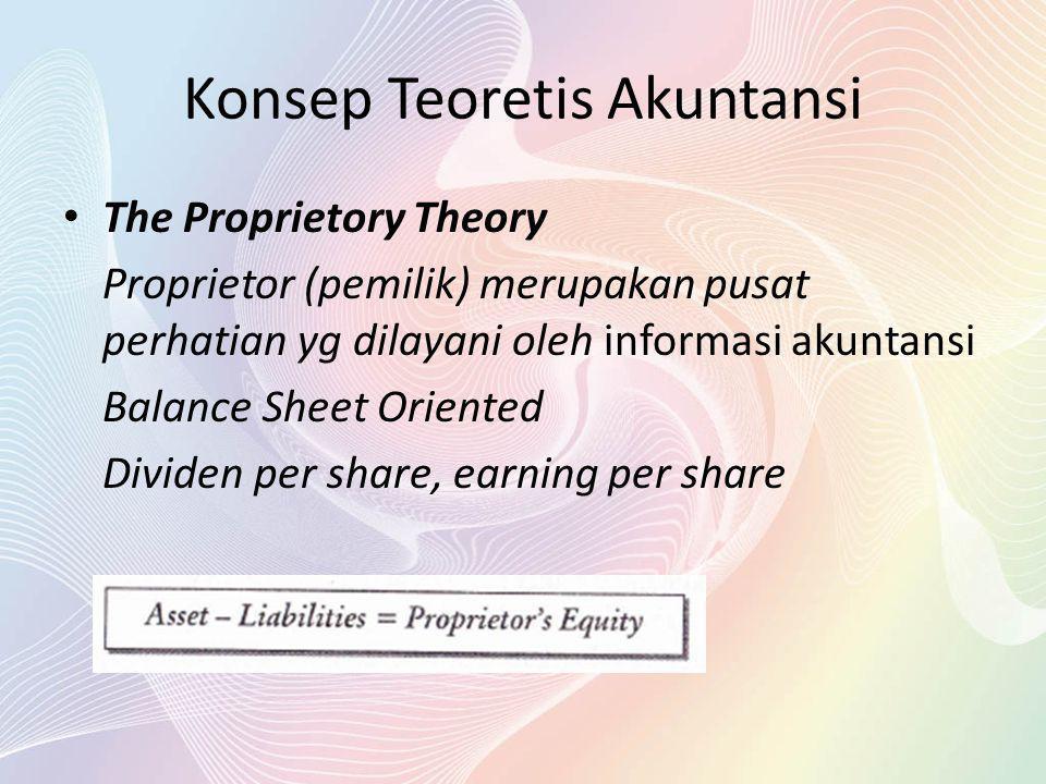 Konsep Teoretis Akuntansi The Proprietory Theory Proprietor (pemilik) merupakan pusat perhatian yg dilayani oleh informasi akuntansi Balance Sheet Ori
