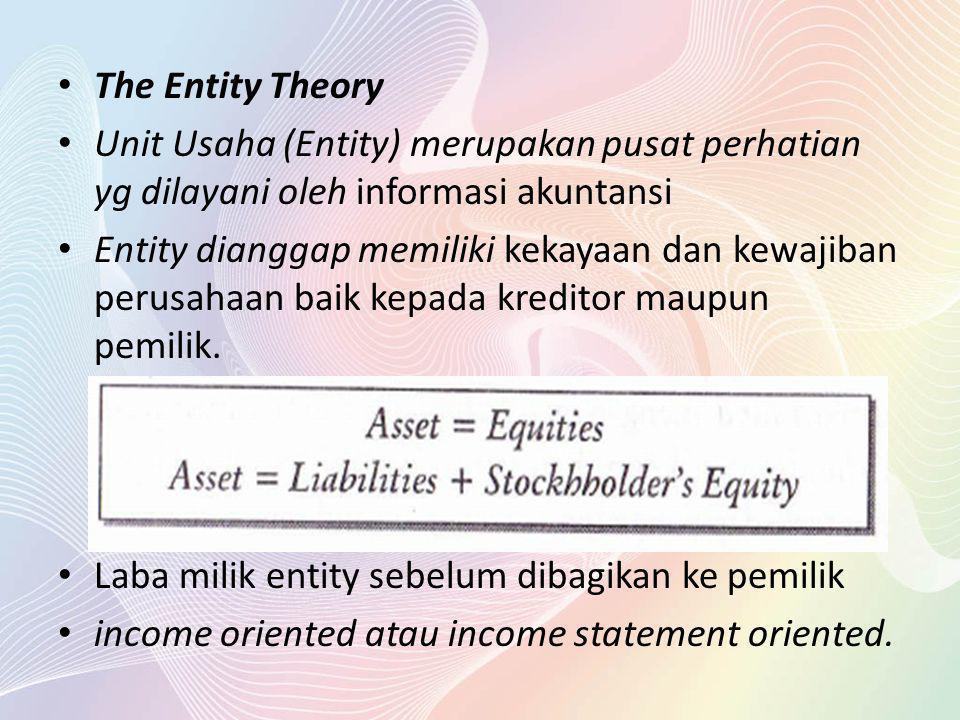 The Entity Theory Unit Usaha (Entity) merupakan pusat perhatian yg dilayani oleh informasi akuntansi Entity dianggap memiliki kekayaan dan kewajiban p