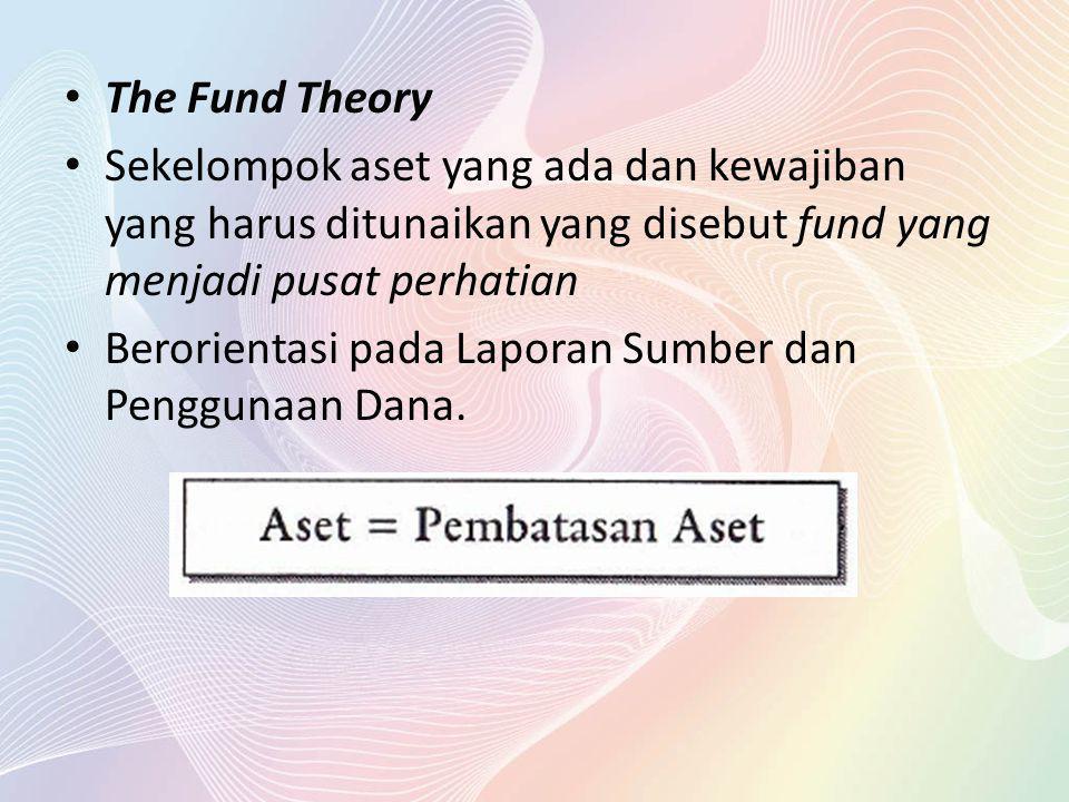 The Fund Theory Sekelompok aset yang ada dan kewajiban yang harus ditunaikan yang disebut fund yang menjadi pusat perhatian Berorientasi pada Laporan