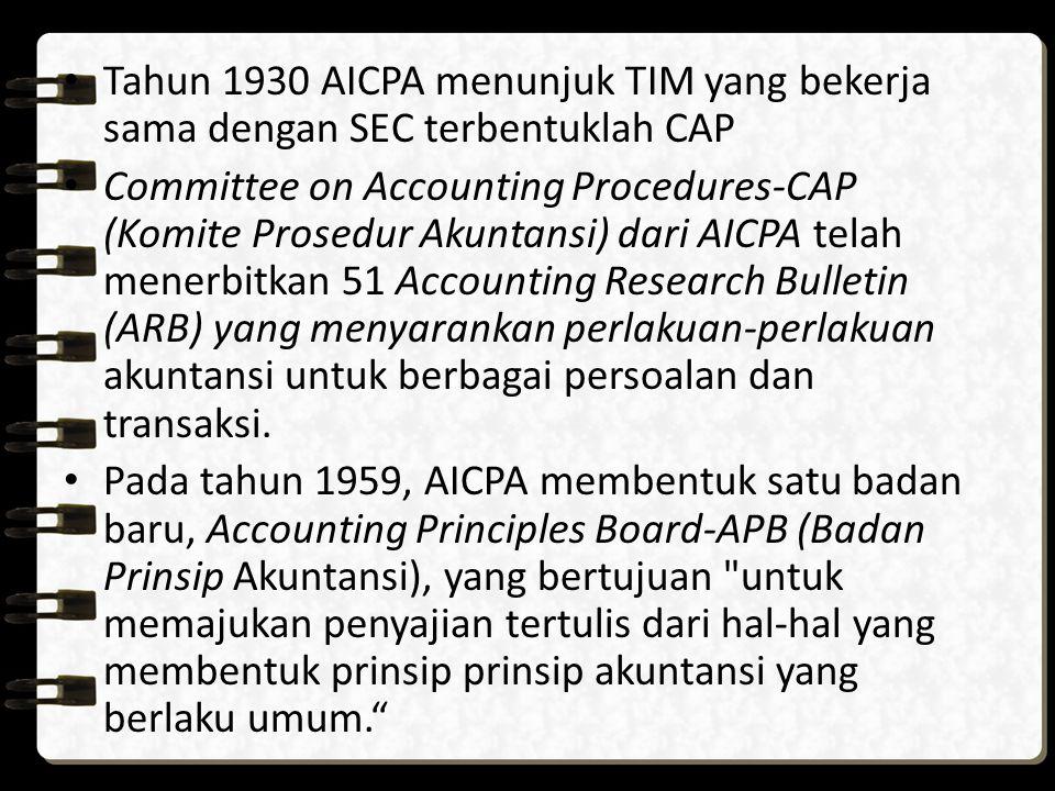 Tahun 1930 AICPA menunjuk TIM yang bekerja sama dengan SEC terbentuklah CAP Committee on Accounting Procedures-CAP (Komite Prosedur Akuntansi) dari AI