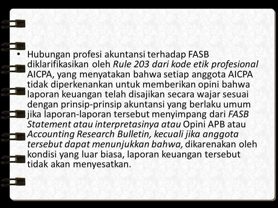 Hubungan profesi akuntansi terhadap FASB diklarifikasikan oleh Rule 203 dari kode etik profesional AICPA, yang menyatakan bahwa setiap anggota AICPA t