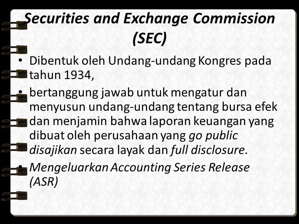 Securities and Exchange Commission (SEC) Dibentuk oleh Undang-undang Kongres pada tahun 1934, bertanggung jawab untuk mengatur dan menyusun undang-und