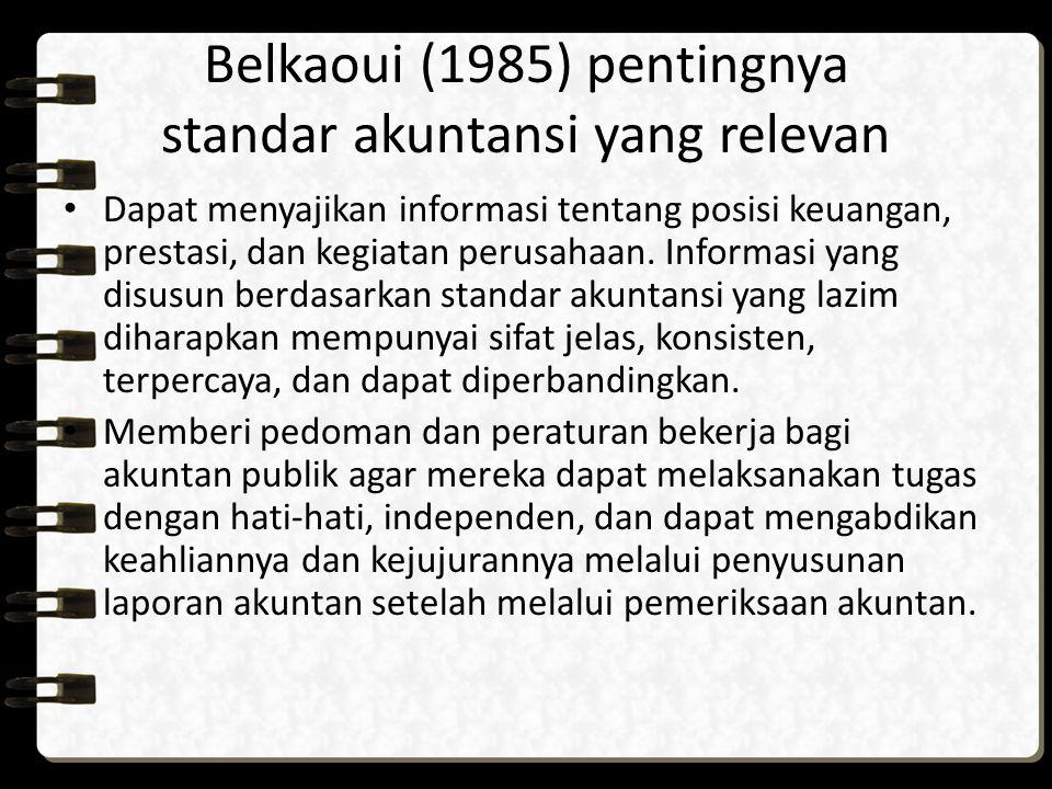 Belkaoui (1985) pentingnya standar akuntansi yang relevan Dapat menyajikan informasi tentang posisi keuangan, prestasi, dan kegiatan perusahaan. Infor
