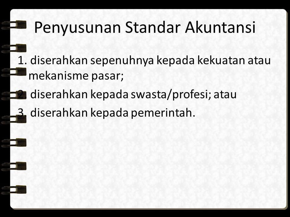 Penyusunan Standar Akuntansi 1. diserahkan sepenuhnya kepada kekuatan atau mekanisme pasar; 2. diserahkan kepada swasta/profesi; atau 3. diserahkan ke