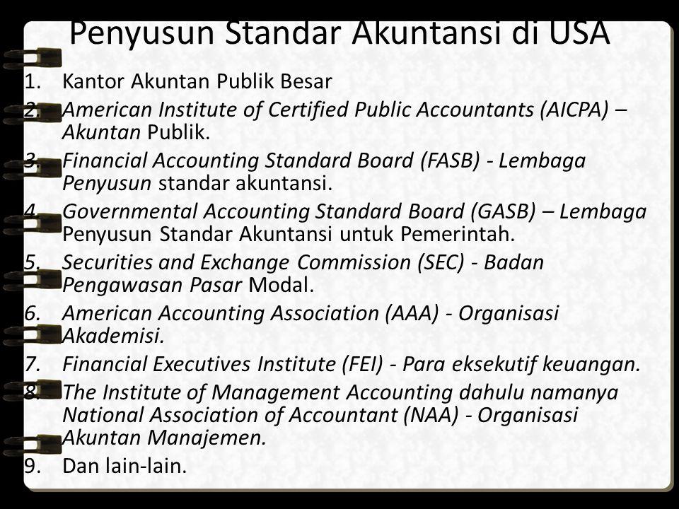 Penyusun Standar Akuntansi di USA 1.Kantor Akuntan Publik Besar 2.American Institute of Certified Public Accountants (AICPA) – Akuntan Publik. 3.Finan