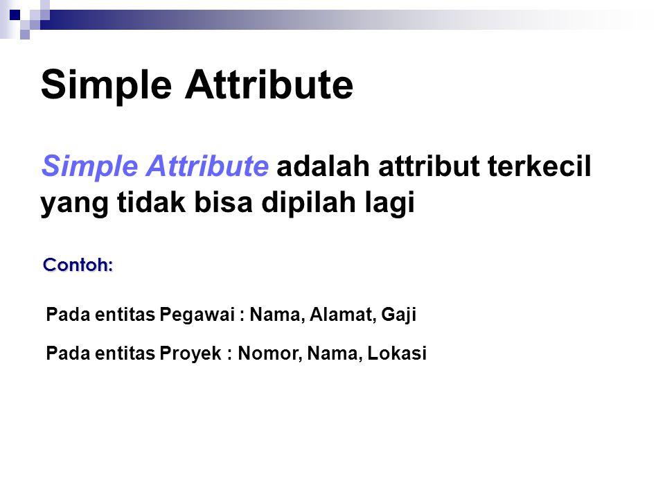 Simple Attribute Simple Attribute adalah attribut terkecil yang tidak bisa dipilah lagi Contoh: Pada entitas Pegawai : Nama, Alamat, Gaji Pada entitas Proyek : Nomor, Nama, Lokasi