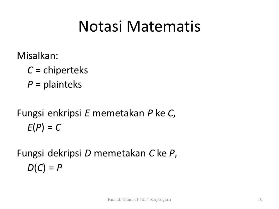 Notasi Matematis Misalkan: C = chiperteks P = plainteks Fungsi enkripsi E memetakan P ke C, E(P) = C Fungsi dekripsi D memetakan C ke P, D(C) = P Rina