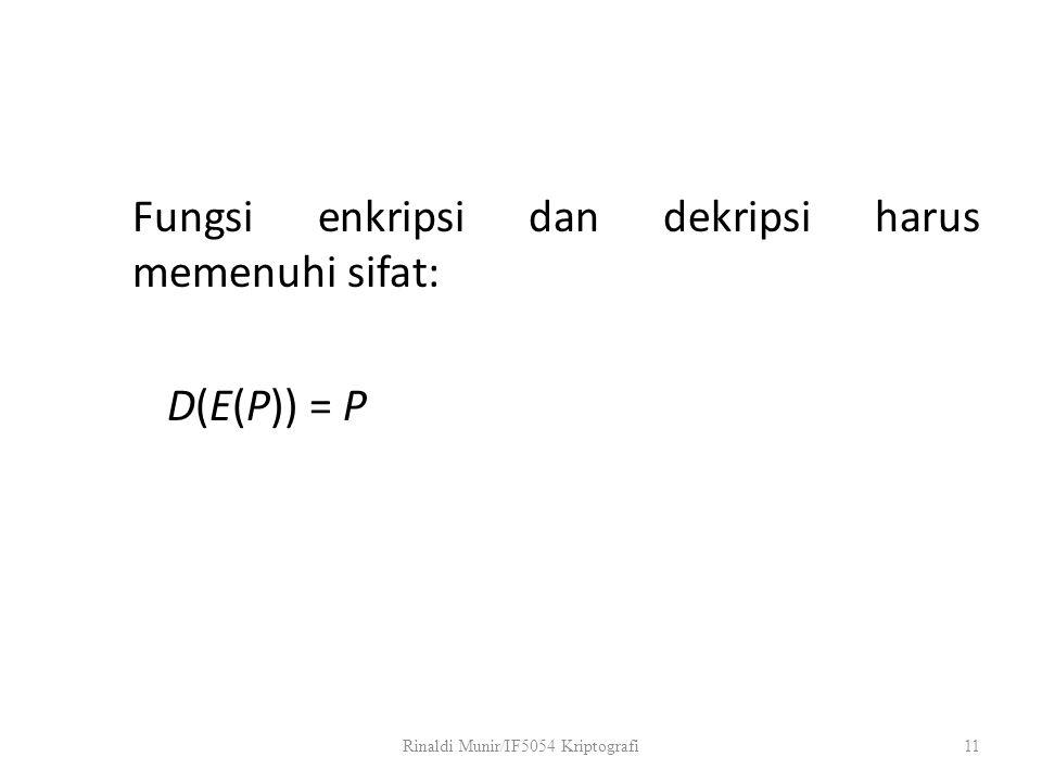 Fungsi enkripsi dan dekripsi harus memenuhi sifat: D(E(P)) = P Rinaldi Munir/IF5054 Kriptografi11