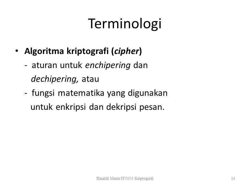 Terminologi Algoritma kriptografi (cipher) - aturan untuk enchipering dan dechipering, atau - fungsi matematika yang digunakan untuk enkripsi dan dekr