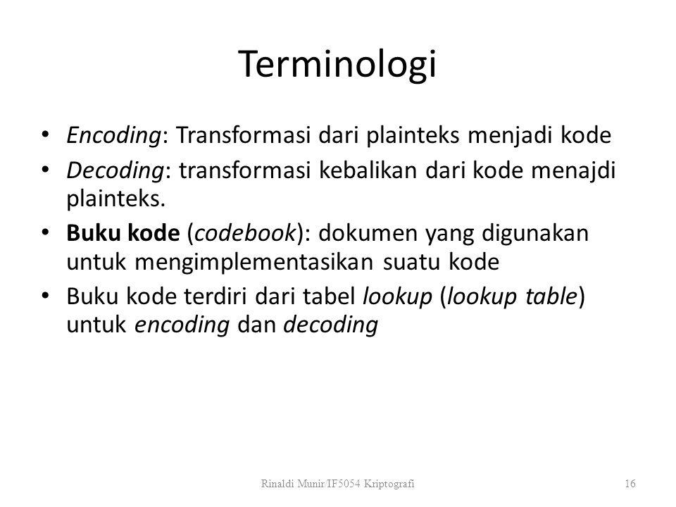 Terminologi Encoding: Transformasi dari plainteks menjadi kode Decoding: transformasi kebalikan dari kode menajdi plainteks. Buku kode (codebook): dok