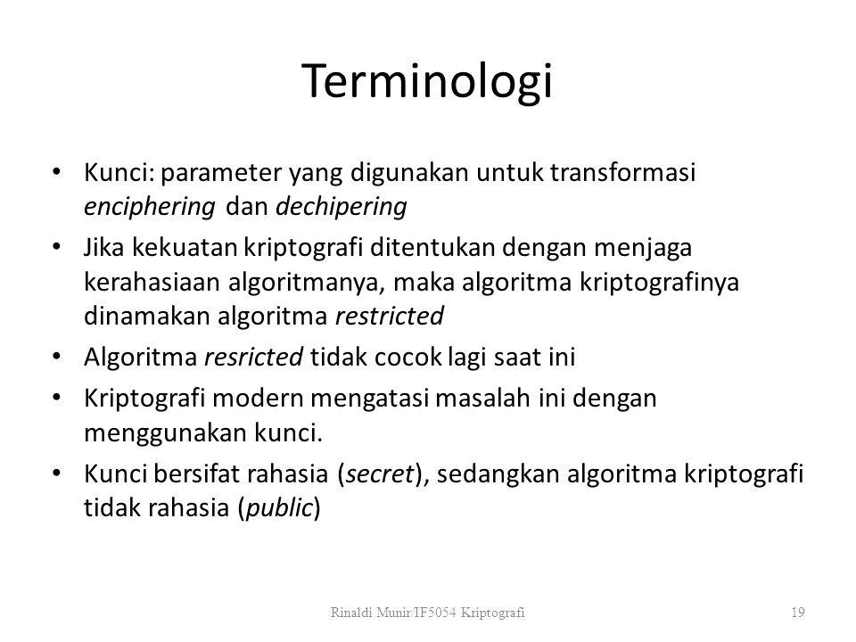 Terminologi Kunci: parameter yang digunakan untuk transformasi enciphering dan dechipering Jika kekuatan kriptografi ditentukan dengan menjaga kerahas