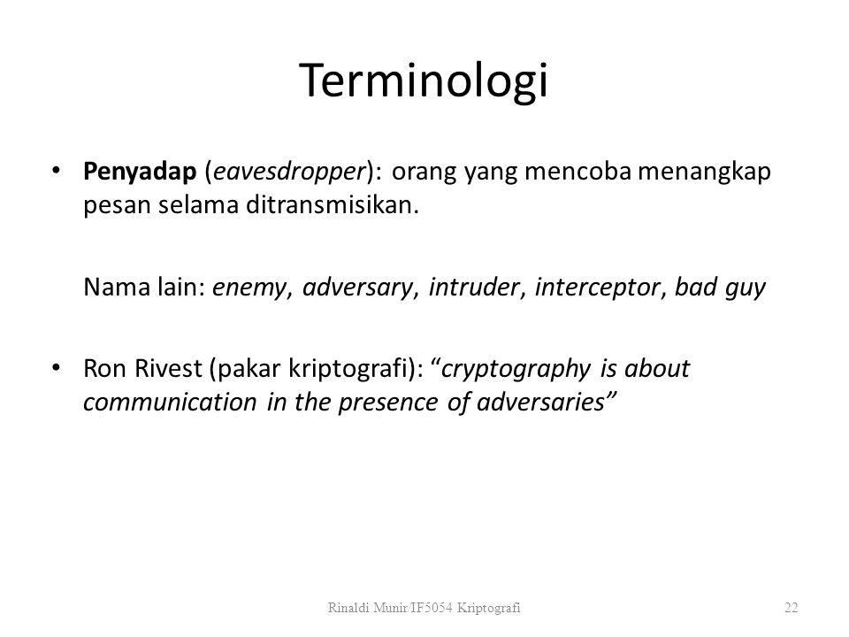 Terminologi Penyadap (eavesdropper): orang yang mencoba menangkap pesan selama ditransmisikan. Nama lain: enemy, adversary, intruder, interceptor, bad