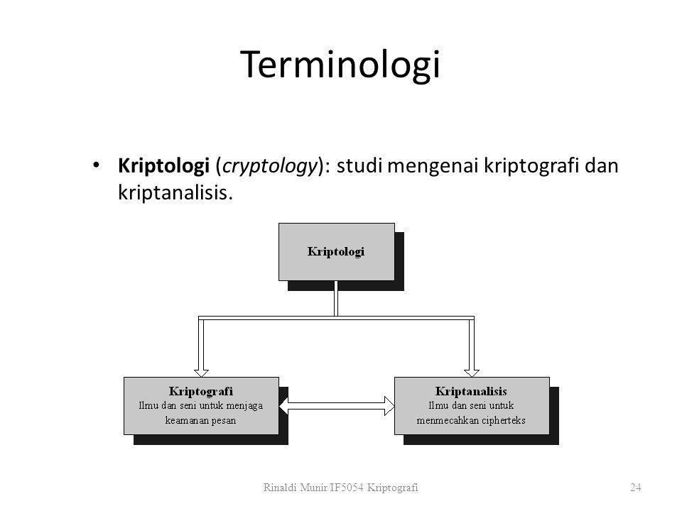 Terminologi Kriptologi (cryptology): studi mengenai kriptografi dan kriptanalisis. Rinaldi Munir/IF5054 Kriptografi24