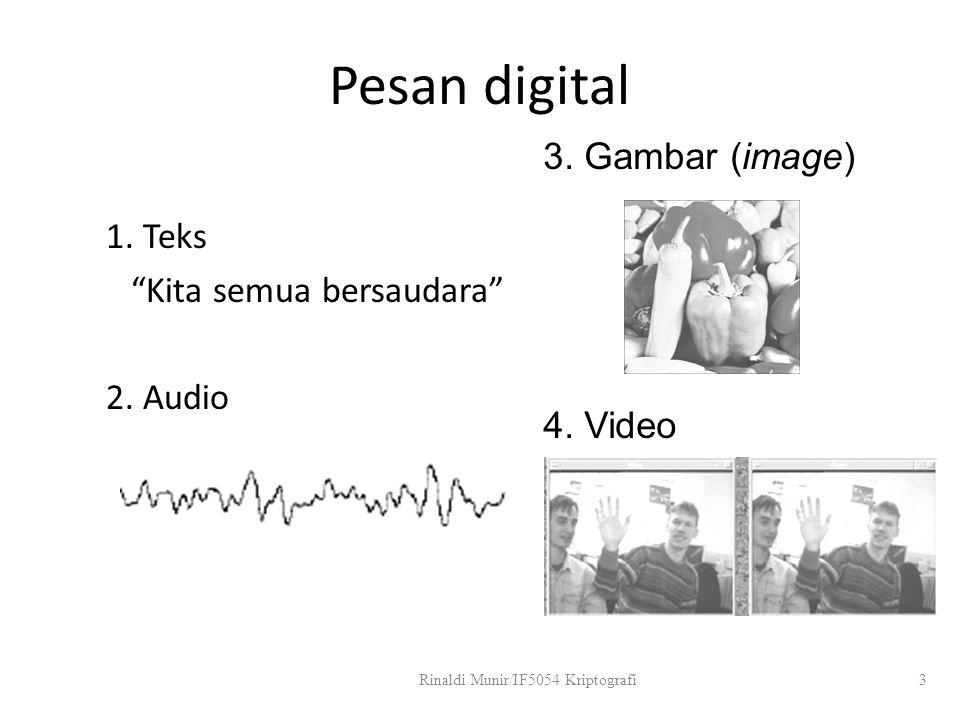 """Pesan digital 1. Teks """"Kita semua bersaudara"""" 2. Audio Rinaldi Munir/IF5054 Kriptografi3 3. Gambar (image) 4. Video"""