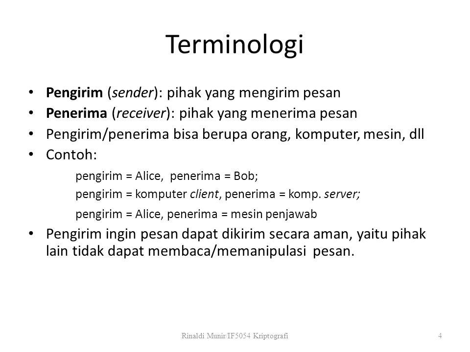 Terminologi Pengirim (sender): pihak yang mengirim pesan Penerima (receiver): pihak yang menerima pesan Pengirim/penerima bisa berupa orang, komputer,