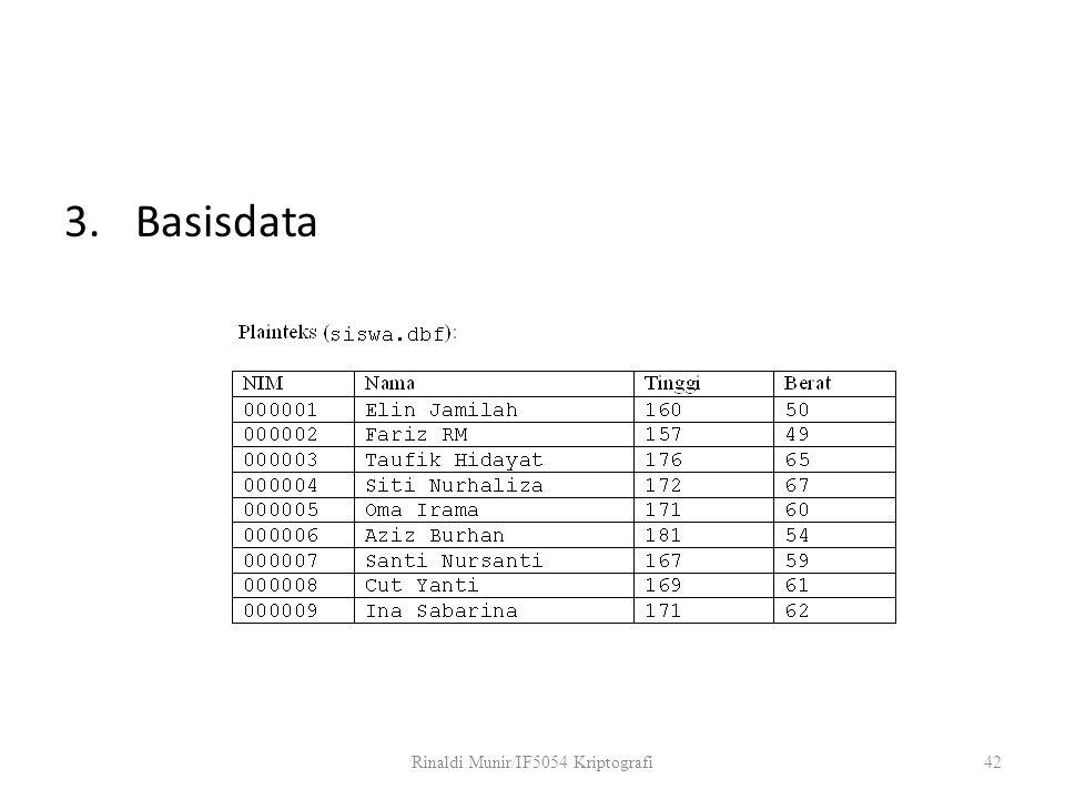 3.Basisdata Rinaldi Munir/IF5054 Kriptografi42