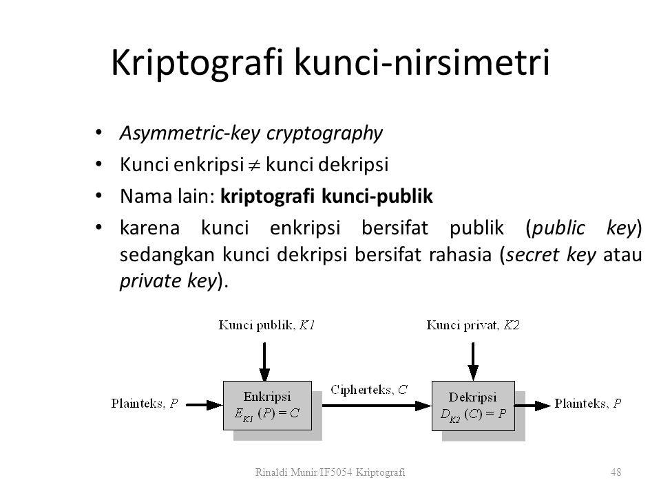 Kriptografi kunci-nirsimetri Asymmetric-key cryptography Kunci enkripsi  kunci dekripsi Nama lain: kriptografi kunci-publik karena kunci enkripsi ber