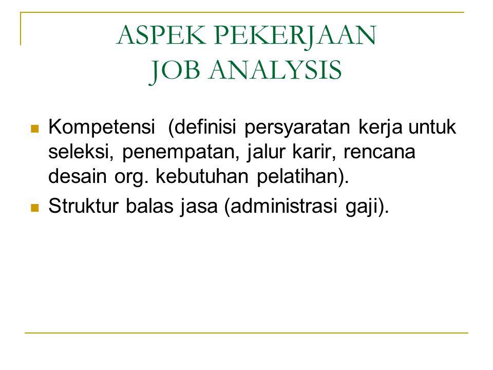 ASPEK PEKERJAAN JOB ANALYSIS Kompetensi (definisi persyaratan kerja untuk seleksi, penempatan, jalur karir, rencana desain org.