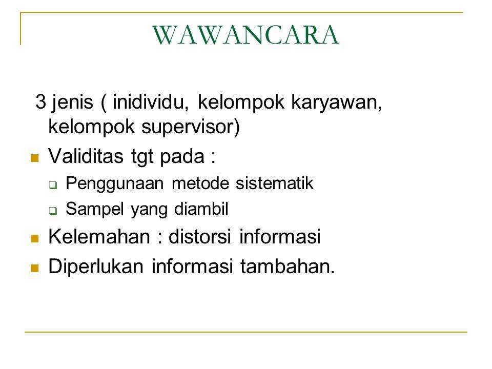 WAWANCARA 3 jenis ( inidividu, kelompok karyawan, kelompok supervisor) Validitas tgt pada :  Penggunaan metode sistematik  Sampel yang diambil Kelemahan : distorsi informasi Diperlukan informasi tambahan.