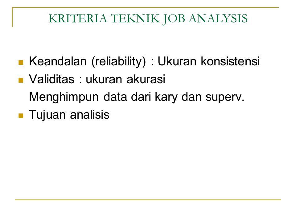 KRITERIA TEKNIK JOB ANALYSIS Keandalan (reliability) : Ukuran konsistensi Validitas : ukuran akurasi Menghimpun data dari kary dan superv.