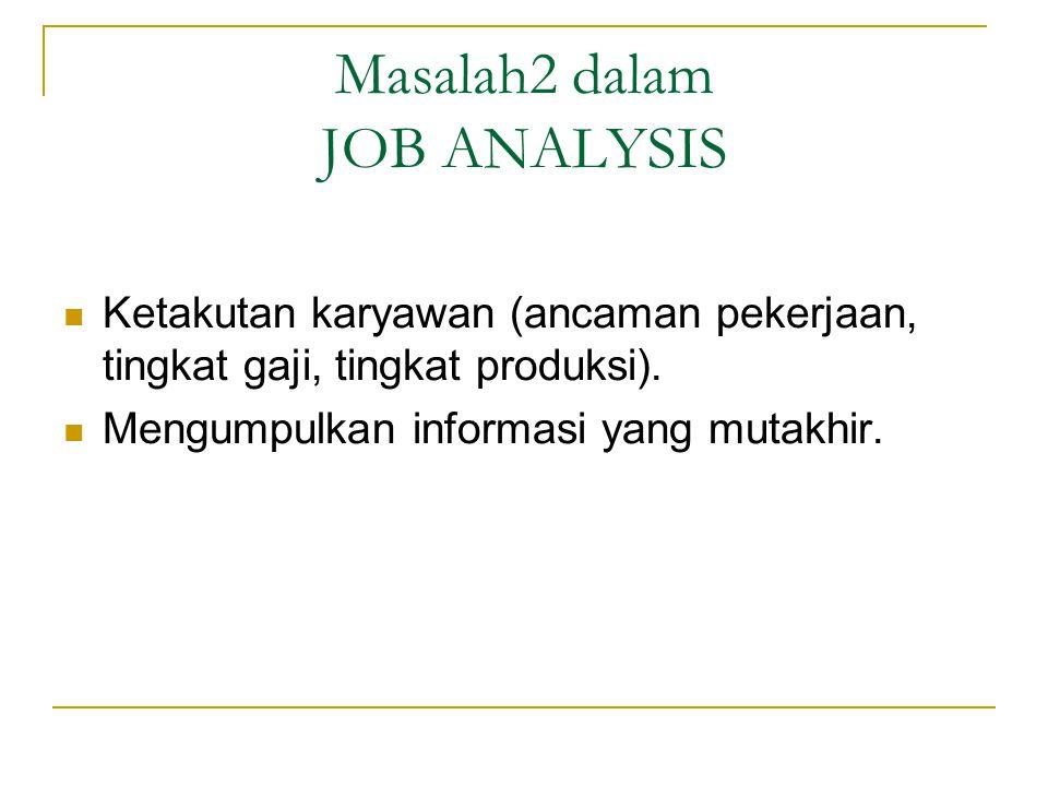 Masalah2 dalam JOB ANALYSIS Ketakutan karyawan (ancaman pekerjaan, tingkat gaji, tingkat produksi).
