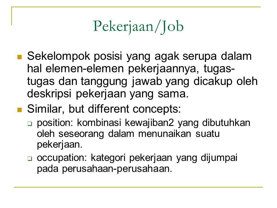 Pekerjaan/Job Sekelompok posisi yang agak serupa dalam hal elemen-elemen pekerjaannya, tugas- tugas dan tanggung jawab yang dicakup oleh deskripsi pekerjaan yang sama.