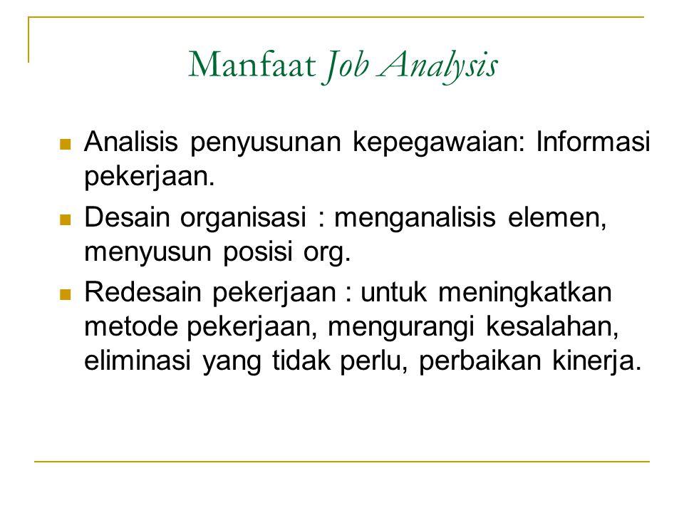 Manfaat Job Analysis Analisis penyusunan kepegawaian: Informasi pekerjaan.
