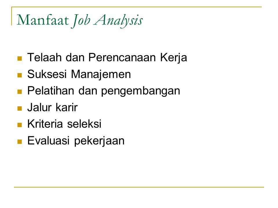 Manfaat Job Analysis Telaah dan Perencanaan Kerja Suksesi Manajemen Pelatihan dan pengembangan Jalur karir Kriteria seleksi Evaluasi pekerjaan