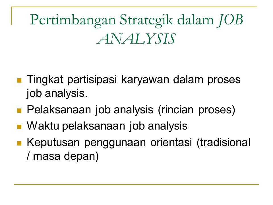 Pertimbangan Strategik dalam JOB ANALYSIS Tingkat partisipasi karyawan dalam proses job analysis.