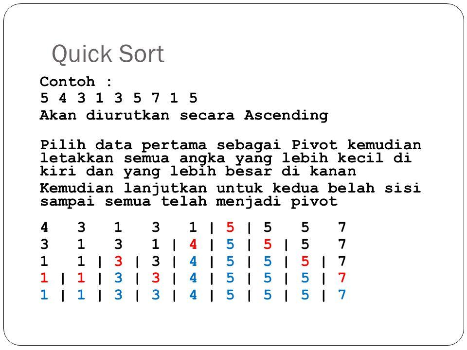 Quick Sort Contoh : 5 4 3 1 3 5 7 1 5 Akan diurutkan secara Ascending Pilih data pertama sebagai Pivot kemudian letakkan semua angka yang lebih kecil