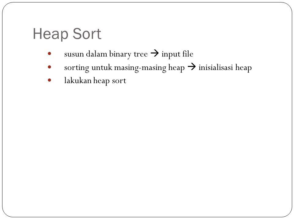Heap Sort susun dalam binary tree  input file sorting untuk masing-masing heap  inisialisasi heap lakukan heap sort