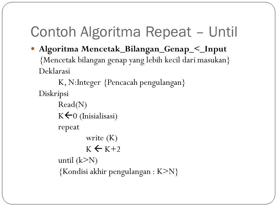 Contoh Algoritma Repeat – Until Algoritma Mencetak_Bilangan_Genap_<_Input {Mencetak bilangan genap yang lebih kecil dari masukan} Deklarasi K, N:Integ
