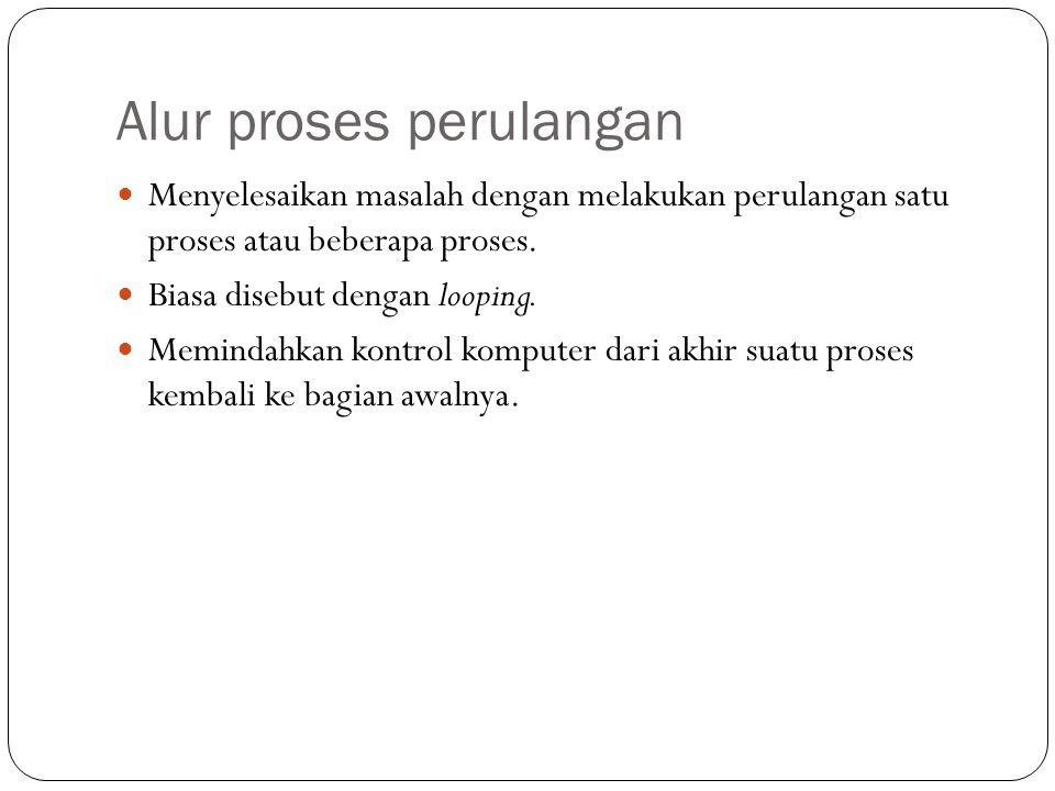 Alur proses perulangan Menyelesaikan masalah dengan melakukan perulangan satu proses atau beberapa proses. Biasa disebut dengan looping. Memindahkan k