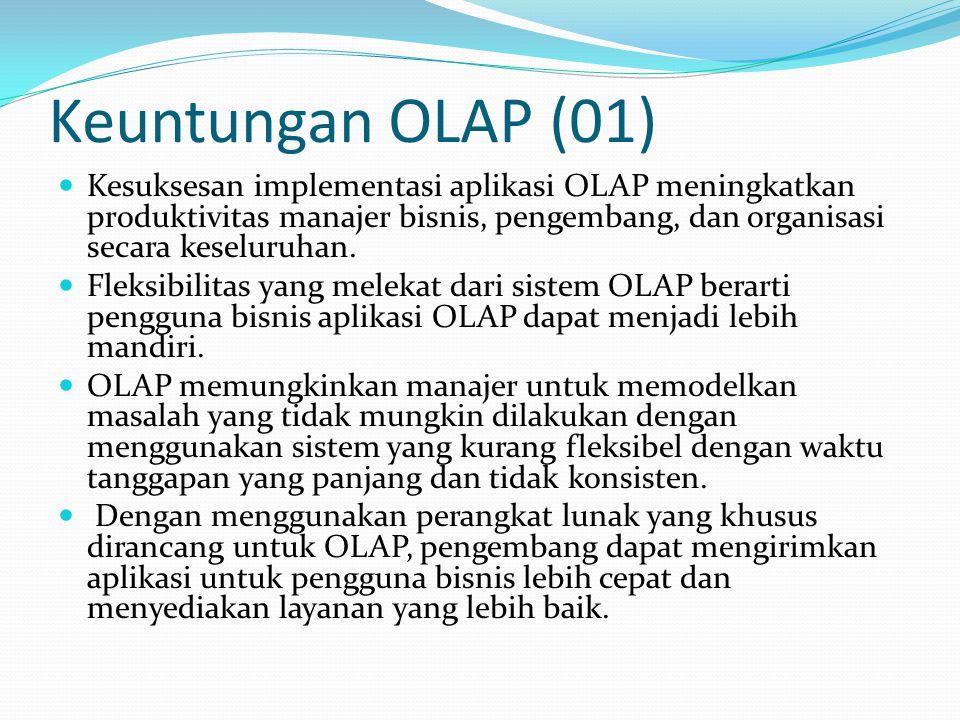 Keuntungan OLAP (02) Dengan menyediakan kemampuan untuk memodelkan masalah-masalah bisnis yang nyata dan lebih efisien atas penggunaan sumber daya manusia, OLAP memungkinkan organisasi secara keseluruhan untuk merespon lebih cepat terhadap permintaan pasar.