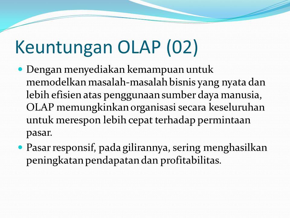 Keuntungan OLAP (02) Dengan menyediakan kemampuan untuk memodelkan masalah-masalah bisnis yang nyata dan lebih efisien atas penggunaan sumber daya man