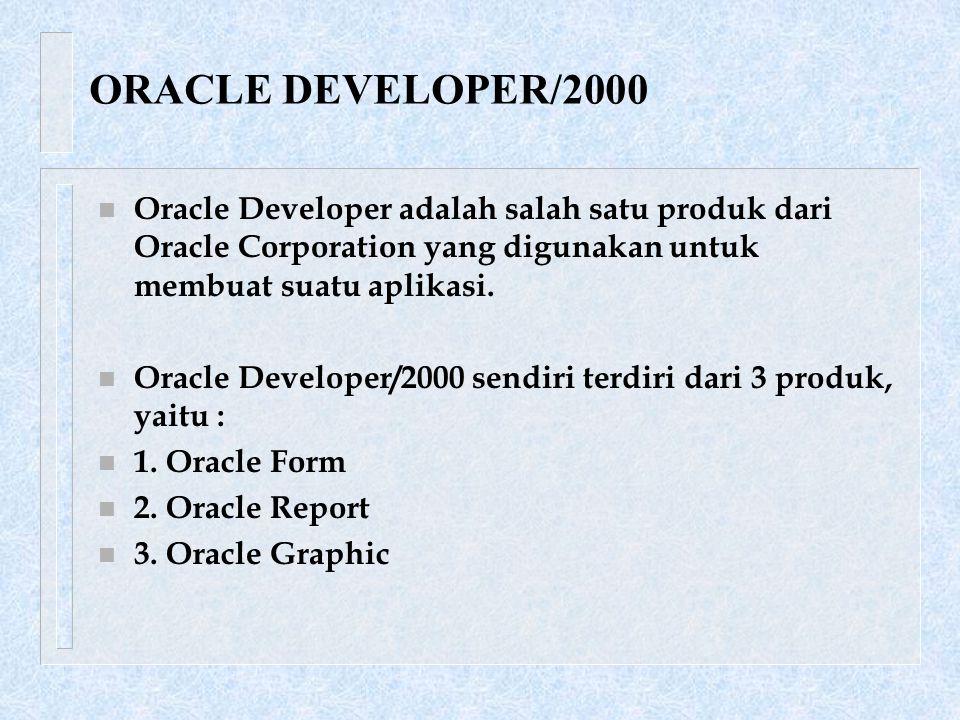 n Oracle Developer adalah salah satu produk dari Oracle Corporation yang digunakan untuk membuat suatu aplikasi.