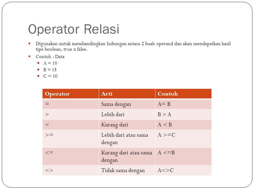 Operator Relasi Digunakan untuk membandingkan hubungan antara 2 buah operand dan akan mendapatkan hasil tipe boolean, true n false.