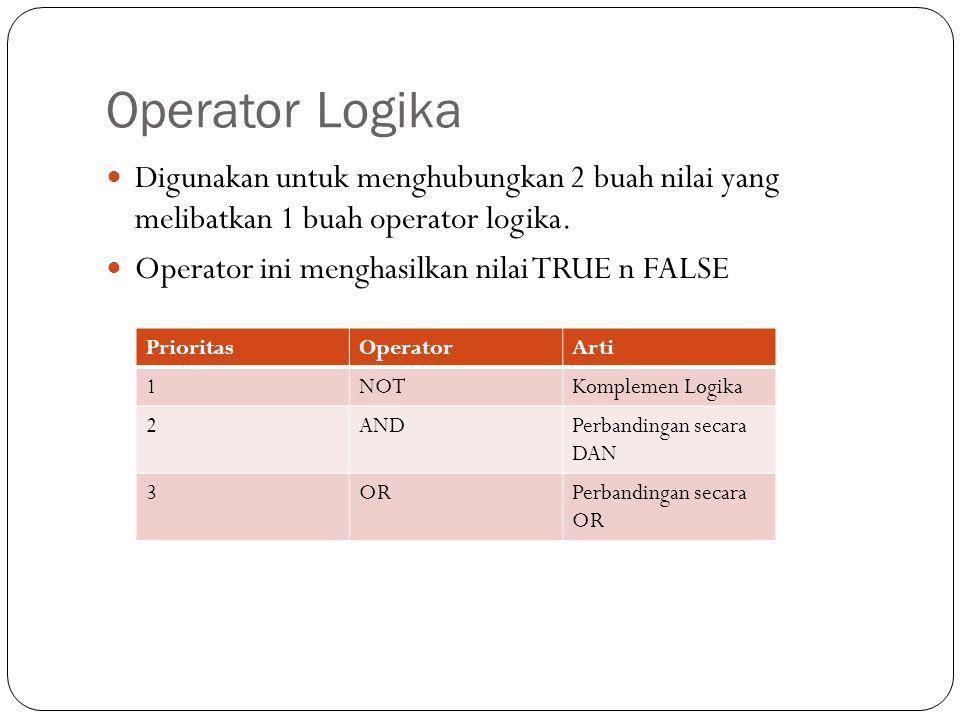 Operator Logika Digunakan untuk menghubungkan 2 buah nilai yang melibatkan 1 buah operator logika. Operator ini menghasilkan nilai TRUE n FALSE Priori