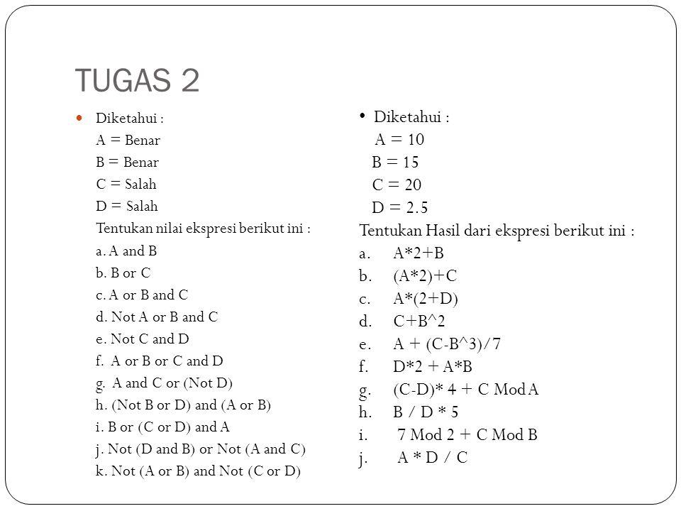 TUGAS 2 Diketahui : A = Benar B = Benar C = Salah D = Salah Tentukan nilai ekspresi berikut ini : a. A and B b. B or C c. A or B and C d. Not A or B a