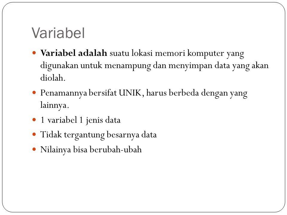 Variabel Variabel adalah suatu lokasi memori komputer yang digunakan untuk menampung dan menyimpan data yang akan diolah. Penamannya bersifat UNIK, ha
